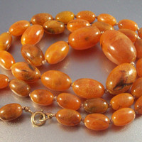 """Vintage Butterscotch Amber Necklace 14k Clasp, Olive Shaped Beads 65 grams, 34"""" long"""