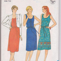 1980s vintage pattern for pullover sleeveless dress with cropped, unlined jacket misses size 10 Butterick 4206 UNCUT