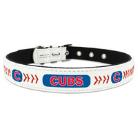 GameWear MLB Baseball Leather Dog Collar — Chicago Cubs