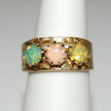 Vintage 3 Opal Stone Ring, Gold Tone Etched Designs, Adjustable