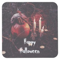 Rustic Halloween Pumpkin and Candles Square Paper Coaster