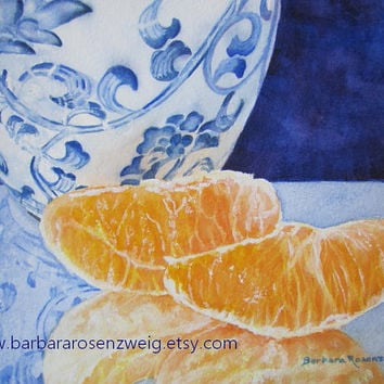 Blue White Ming Vase Orange Art Print of Original Painting, Watercolor Fruit Still Life Chinese Kitchen Decor Gift, Etsy, Barbara Rosenzweig