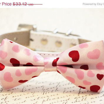 Pink Hearts Dog Bow tie, Cute chic dog bow tie- Wedding gift, Heart Pink Bow Tie, 2015 Wedding