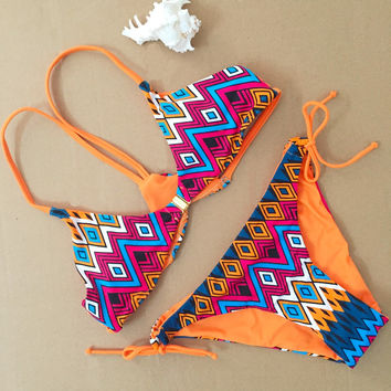 2016 New Reversible Print swimsuit bikini set sexy Beach Swimwear geometric sexy bind printed Swimsuit 1612