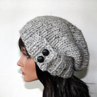 Slouch Beanie Women's Button Tab Hat Knit Hat  Slouchy Hat Winter Fashion Accessories -Gray Marble