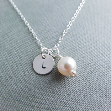 Pearl necklace, silver initial necklace, personalised jewellery, Swarovski necklace, gift for her, thank you gift, bridesmaid necklace