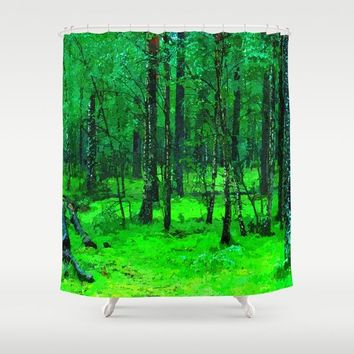 Green enchanted forest, magical nature, beautiful view, calm place, rich colors wild nature painting Shower Curtain by Peter Reiss