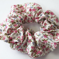 Hair Scrunchie Pretty Pink and Light Blue Floral by TomiBell