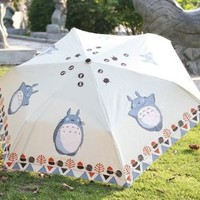 "Petty Cabin Cartoon ""My Neighbor Totoro"" Creative Design Anti-UV Sun Umbrella Triple Folding UV Protected Parasol"