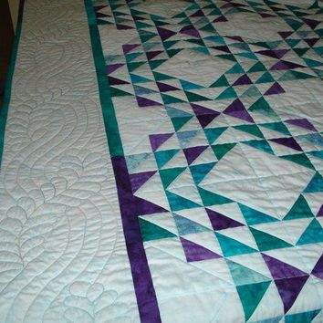 Patchwork Quilt Ocean Waves in Aqua, Jade, Teal, Purple Batik Made for You