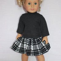 18 inch doll clothes, plaid gathered corduroy skirt and grey sweater with long sleeves, american girl, Maplelea