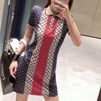GUCCI Polo Short Sleeve  Bodycon Upright Neck All-match Casual Women Mini Dress
