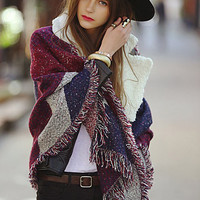 Red Retro Fringed Scarf