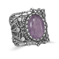Oxidized Vintage Style Amethyst Ring