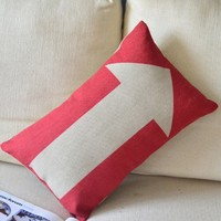 ZLP Red Arrow Cotton and Linen Pillow Color Red