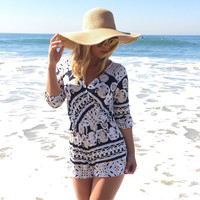 Pacifico Texture Romper In Navy