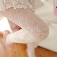 Japanese Rose Lace Sexy Pantyhose Slim Vertical Bar Vintage Thin Solid Color Silk Women Stockings Mesh Princess Stockings