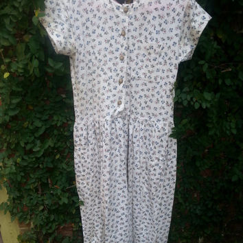 Vintage Liz Claiborne floral printed drop waist dress grunge 90s size small