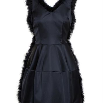 Satin Dress with Feather Trim - SIMONE ROCHA