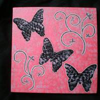 Black butterflies acrylic canvas painting for girls wall art
