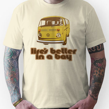 Volkswagen Kombi Tee shirt - Life's Better in a Bay - Yellow Unisex T-
