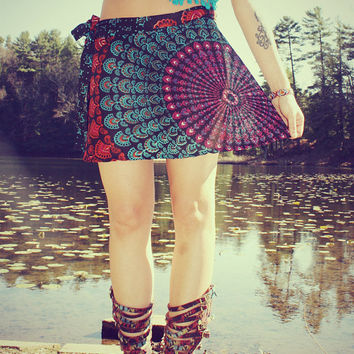 Mini Wrap Skirt, Peacock Hippie Skirt, Cover-Up, Boho, Gypsy, Moon Sunburst, Peacock Print, Skirt, Bohemian, Festival Skirt, Small
