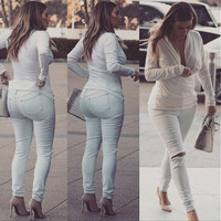 WHITE ROUND NECK BACKLESS TOPS