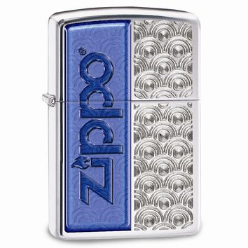 Zippo High Polish Chrome Blue Logo Lighter