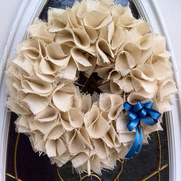 Winter Burlap Wreath for Front Door