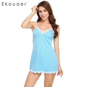 Ekouaer Sexy Slim Sleepwear Women Nightdress Spaghetti Strap V-Neck Lace Patchwork Nightgown Summer Casual Chemise Nightwear