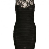 Black Ribbed Bodycon Dress with Lace Neck&Open Back