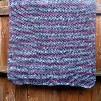 Toddler Afghan crochet blanket, kids blanket, lapghan, decorative throw in Denim Blue and Raspberry stripes, ready to ship.