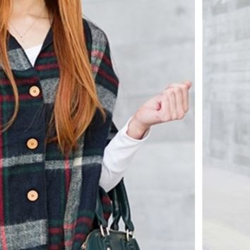Button Down Plaid Blanket Scarves