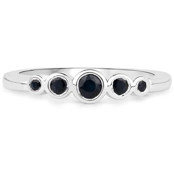 LoveHuang 0.28 Carats Genuine Blue Sapphire Stacking Ring Solid .925 Sterling Silver With Rhodium Plating