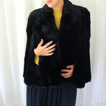 Vintage 50's Black Fur Stole - Mortons Washington DC