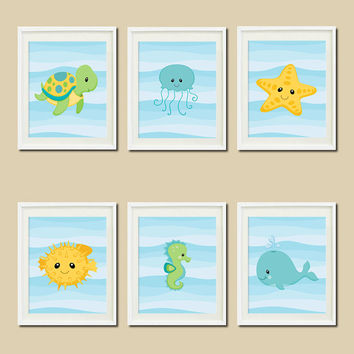 Boy Sea Animals Boy Nursery Decor Bathroom Decor Yellow Aqua Artwork Turtle Seahorse Whale Set Of