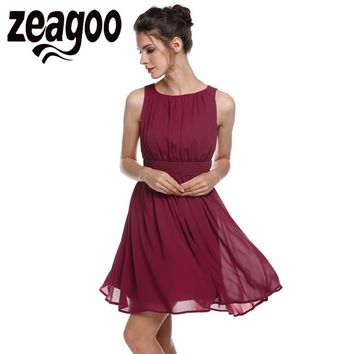Zeagoo Elegant Dress Summer Chiffon Sleeveless Draped Flare Fit party Dresses Vestidos Fashion Party Casual Summer Dress