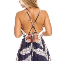 BLUE MULTI PRINT DESIGN LACE TRIM DEEP VNECK CASUAL ROMPER JUMPSUIT