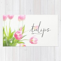 Pink tulips Rug by Sylvia Cook Photography