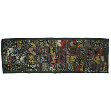 """80x20"""" Black Vintage Patchwork Tapestry Wall Hanging Runner Indian Ethnic Decorative Art"""