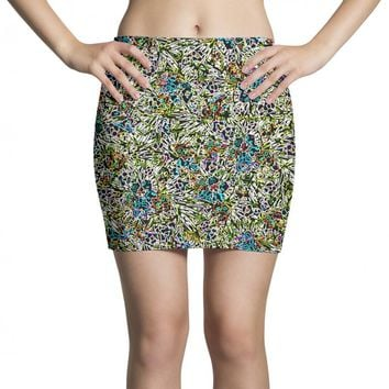 multicolored abstract pattern Mini Skirts