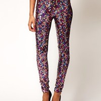 ASOS Panelled Leggings in Pink Sequins at asos.com
