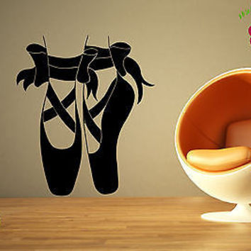 Wall Stickers Vinyl Decal Ballet Dancing Shoes Bows Classic Theater EM569