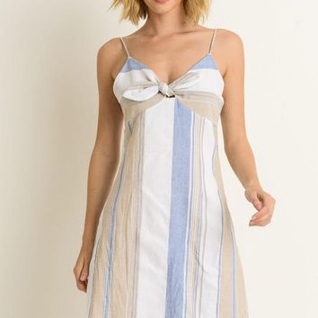 (pre-order) Blue Striped Bow Dress