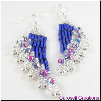 Ripples Delight Southwestern Beadwork Seed Bead Earrings in Blue and Silver
