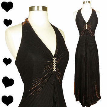 Vintage 80s Dress 50s Style Marilyn Copper Metallic Halter Bombshell  L Sunburst Glam Slit Diva Cocktail Prom Dance Party