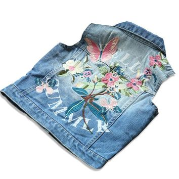 Trendy Girl Waistcoat Spring Autumn Kids Vest Jacket 2018 Flower Butterfly Embroidered Denim Vest Child Clothes Girls Clothes AT_94_13