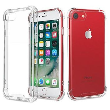 MoKo Case for iPhone 7 - Shock Absorption Flexible TPU Bumper Anti-Scratch Rigid Slim Protective Cases Clear Back Cover for Apple iPhone 7 (2016), Crystal Clear