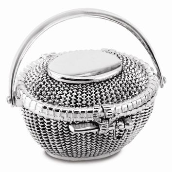 Silver-plated Hinged Lid Nantucket Basket Box - Engravable Gift Item