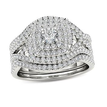 1 CT. T.W. Diamond Cushion Frame Split Shank Three Piece Bridal Engagement Ring Set in 14K White Gold